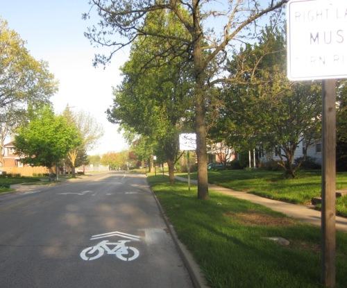 Sharrow on Washington Street, too far to the right